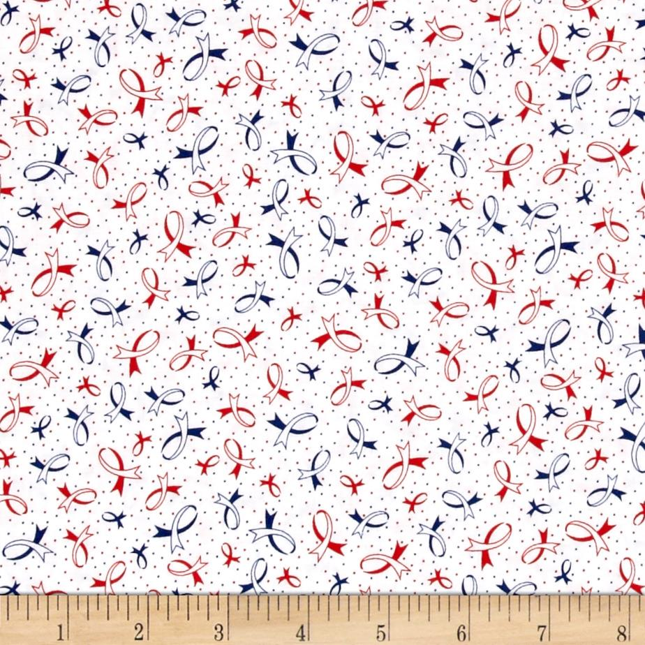 Ribbons Of Hope Ribbons Red Blue Fabric