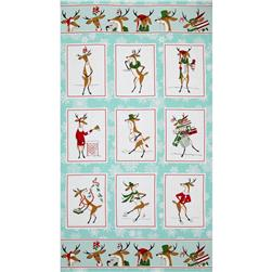 Where's Rudolph Panel Aqua Blue Fabric
