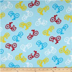 Comfy Flannel Multicolored Bicycles Blue