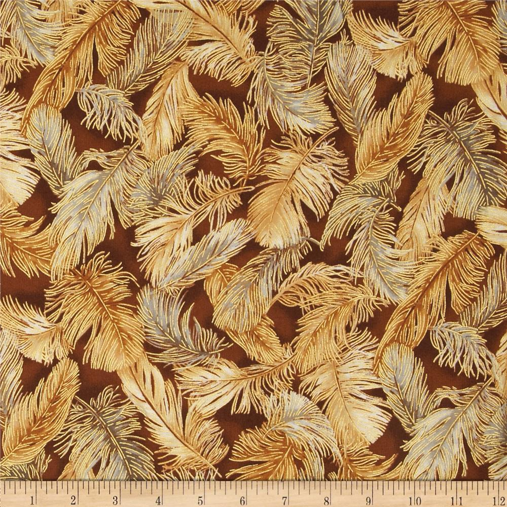Crescendo Feathered Leaves Metallic Earth