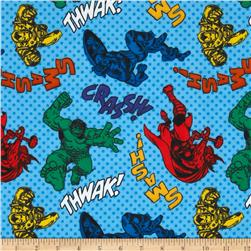 Marvel Comics Flannel Characters with Dots Blue Fabric