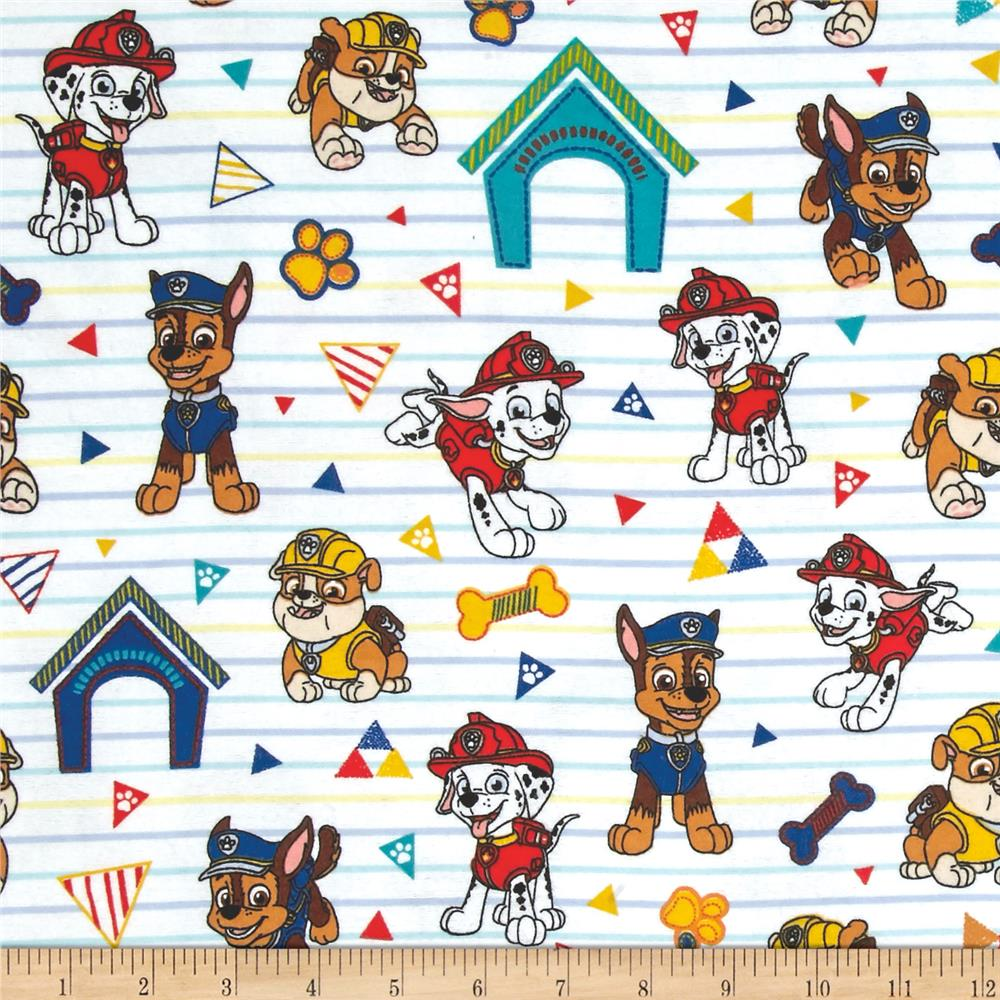 Nickelodeon paw patrol pawsome rescue pups flannel white for Children s character fabric