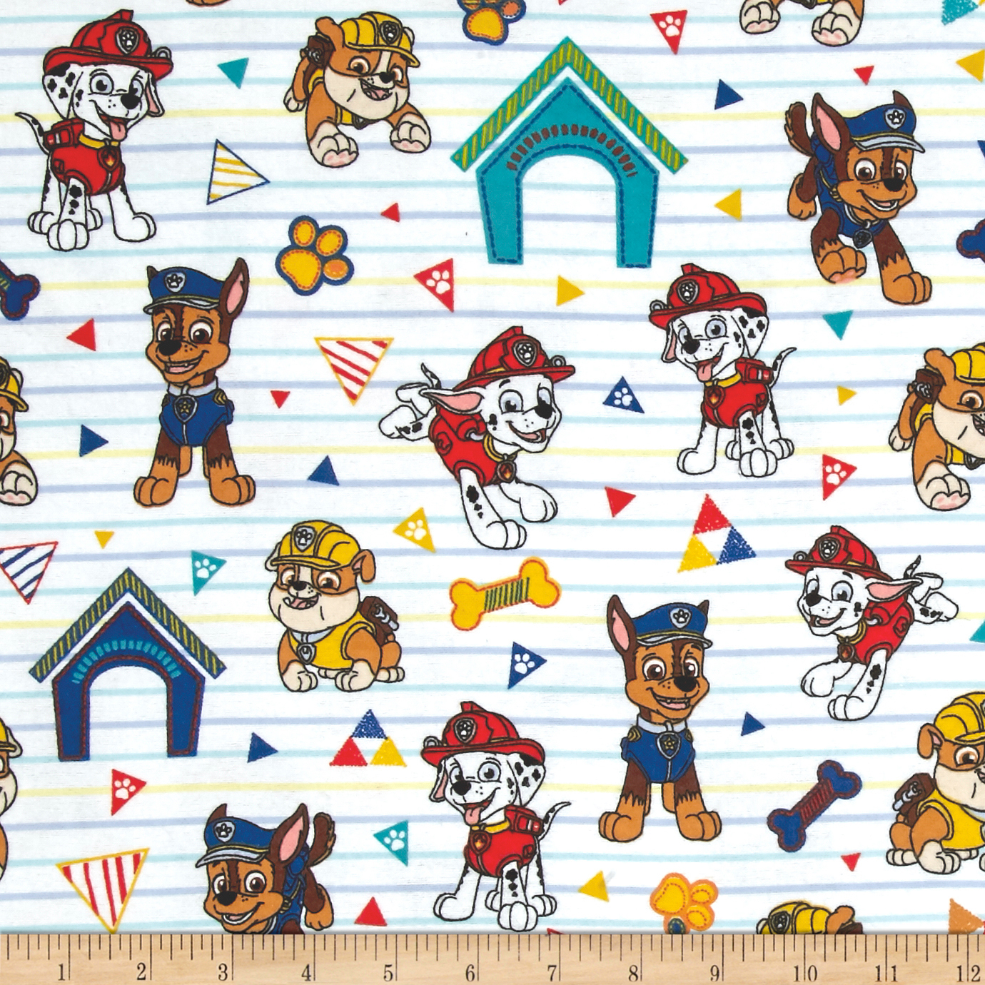 Nickelodeon Paw Patrol Pawsome Rescue Pups Flannel White Fabric