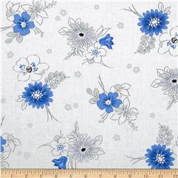 Midnight Floral Toss White Fabric