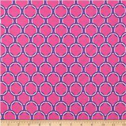 Kaufman Laguna Stretch Jersey Knit Circles Pink Fabric