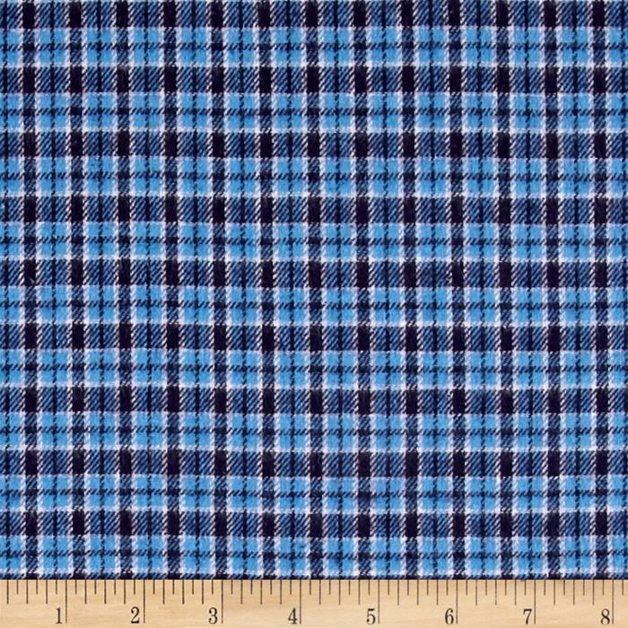 Yarn Dyed Flannel Plaid Blue Fabric