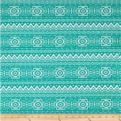 Swim Stretch ITY Jersey Knit Aztec Jade/White