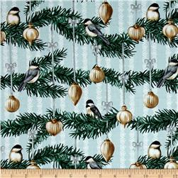 Home For The Holidays Birds Light Blue