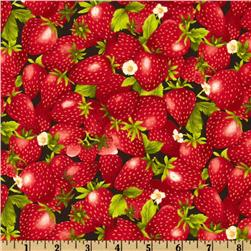 Farmer John's Garden Strawberry Black Fabric