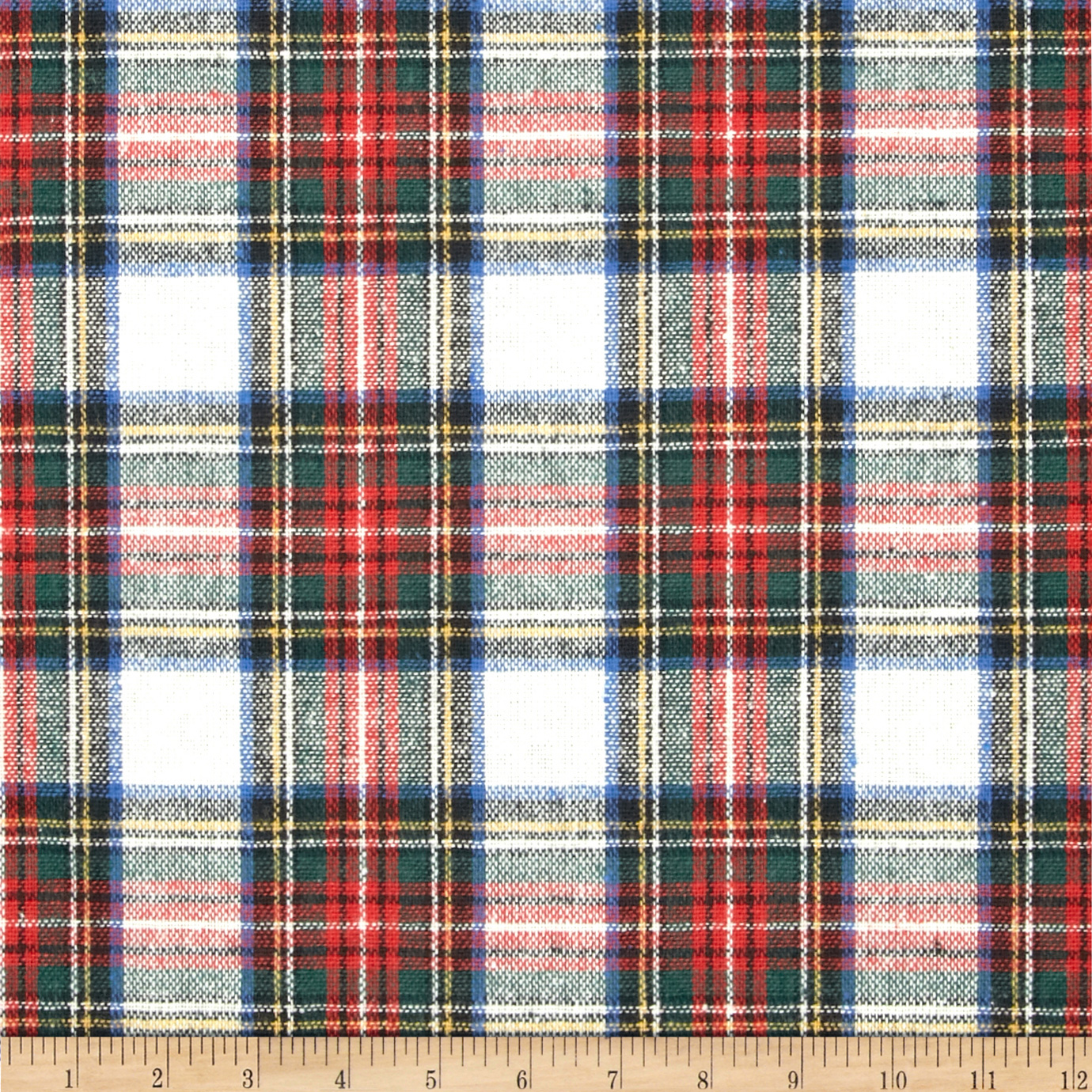 Washable Wool Plaid Cream/Red/Blue Fabric by Spechler-Vogel in USA