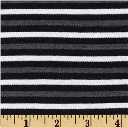 Ripple Stripe Jersey Knit Black/Charcoal/White Fabric