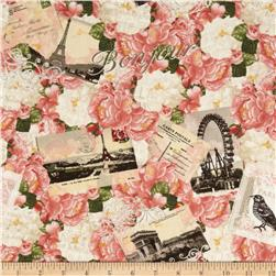 Timeless Treasures Bonjour Mon Amour Paris Collage Pink