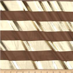Chiffon Metallic Foil Stripes Chocolate/Gold Fabric