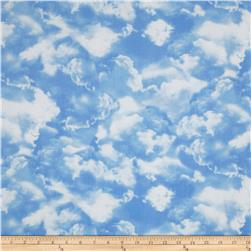 Timeless Treasures Planes, Trains & Automobiles Clouds Blue