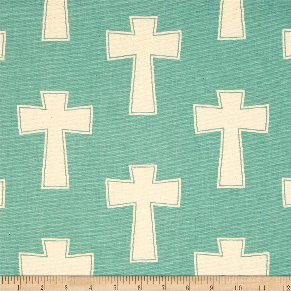 Premier Prints Cross Village Blue/Natural