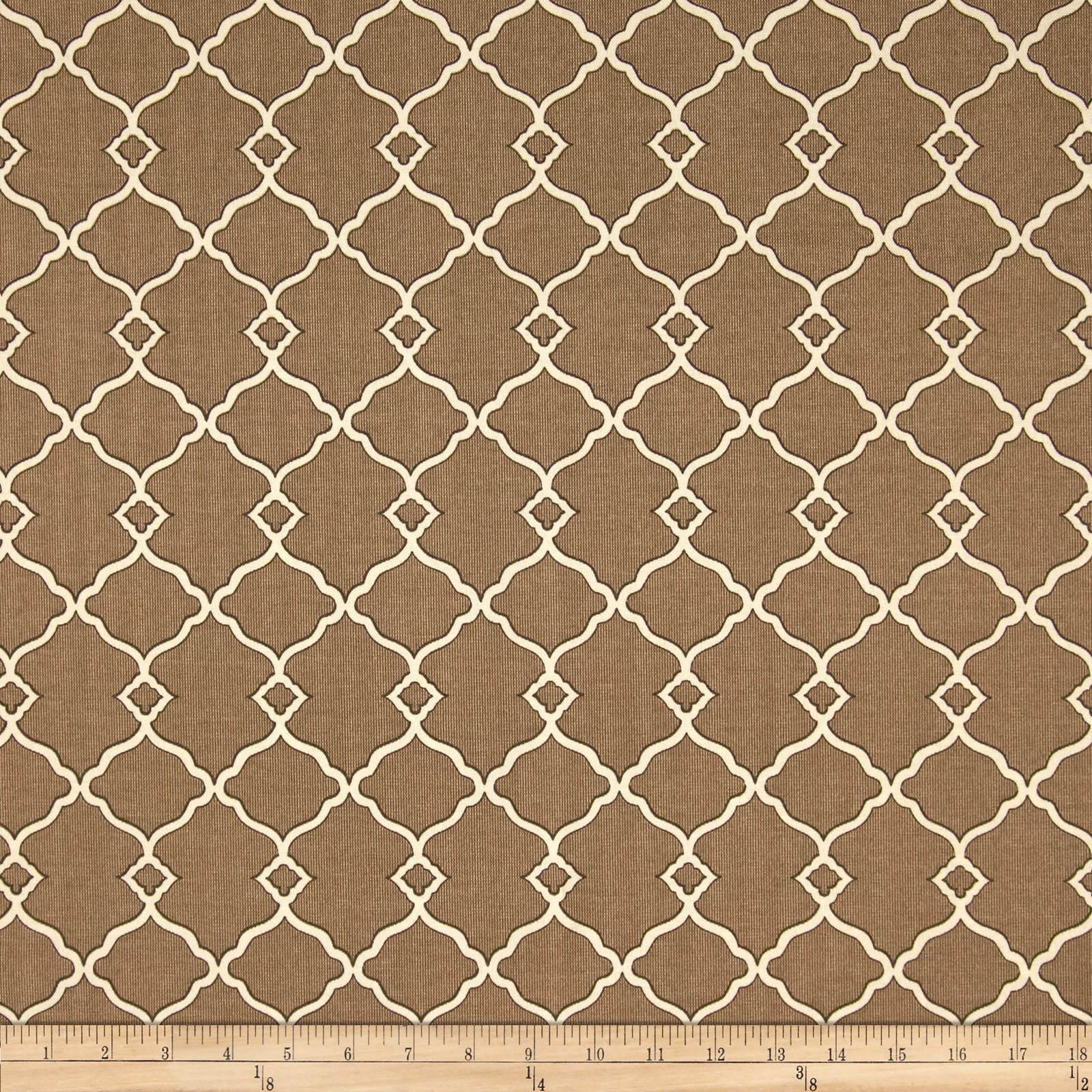Waverly Sun N Shade Chippendale Fretwork Mocha Fabric