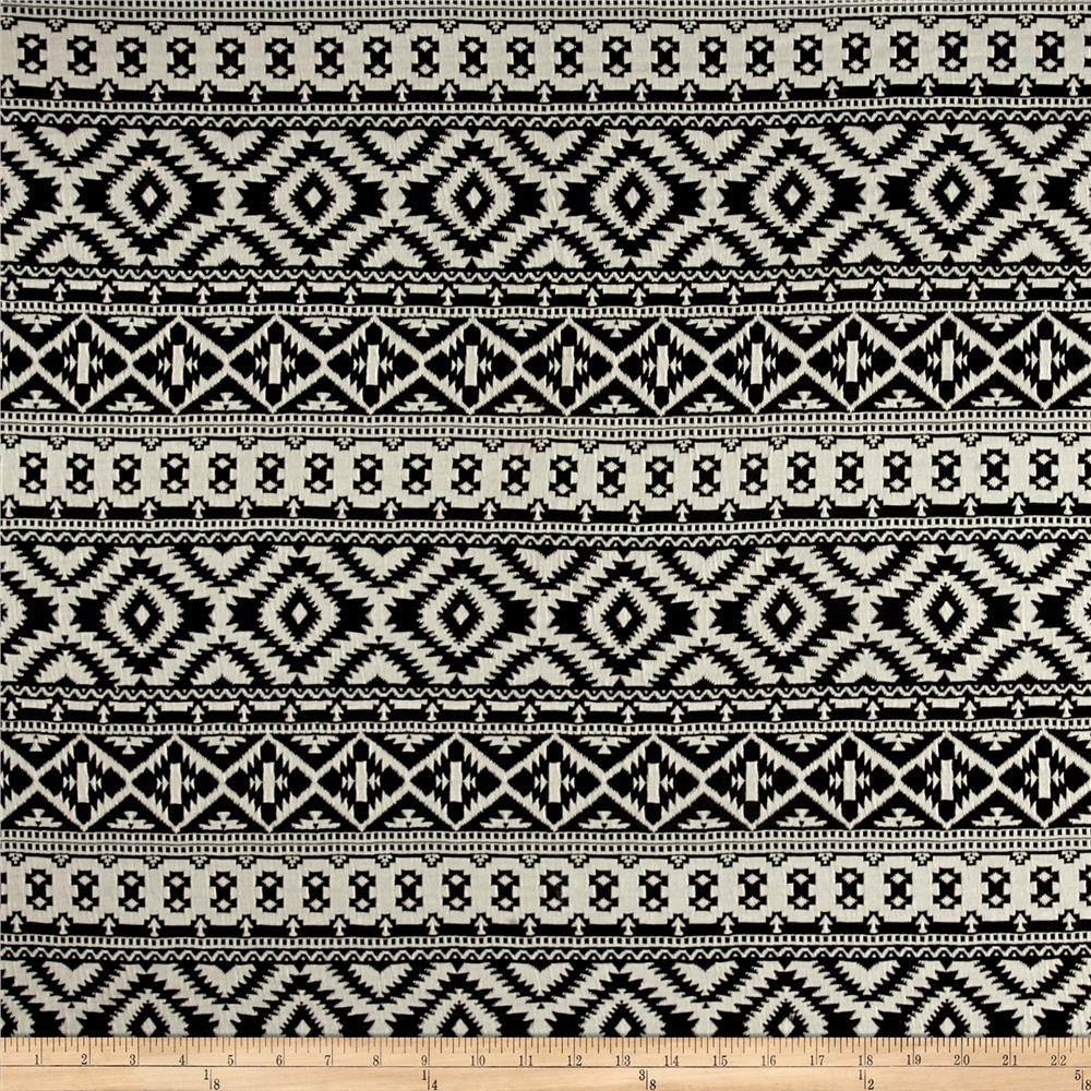 Jacquard Double Knit Aztec Black/Cream