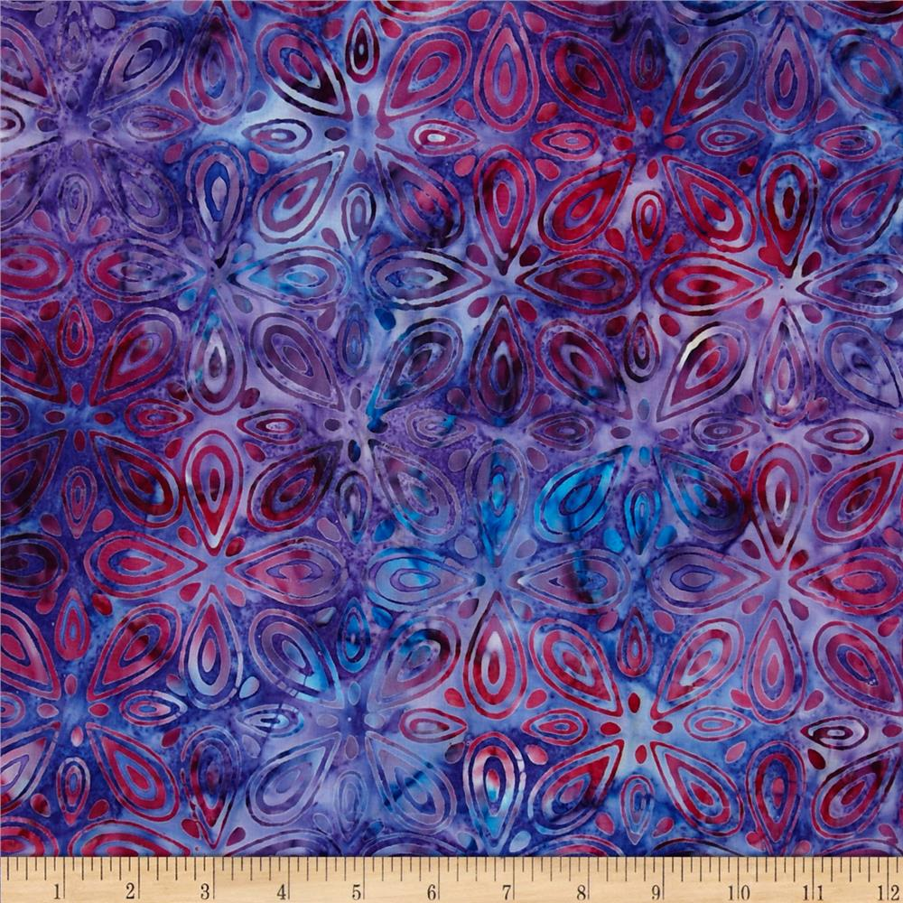 Artisan Batiks Tango 3 Geo Leaves Berry Purple