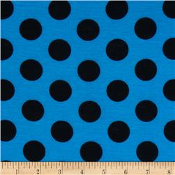 Soft Jersey Knit Dots Royal/Black
