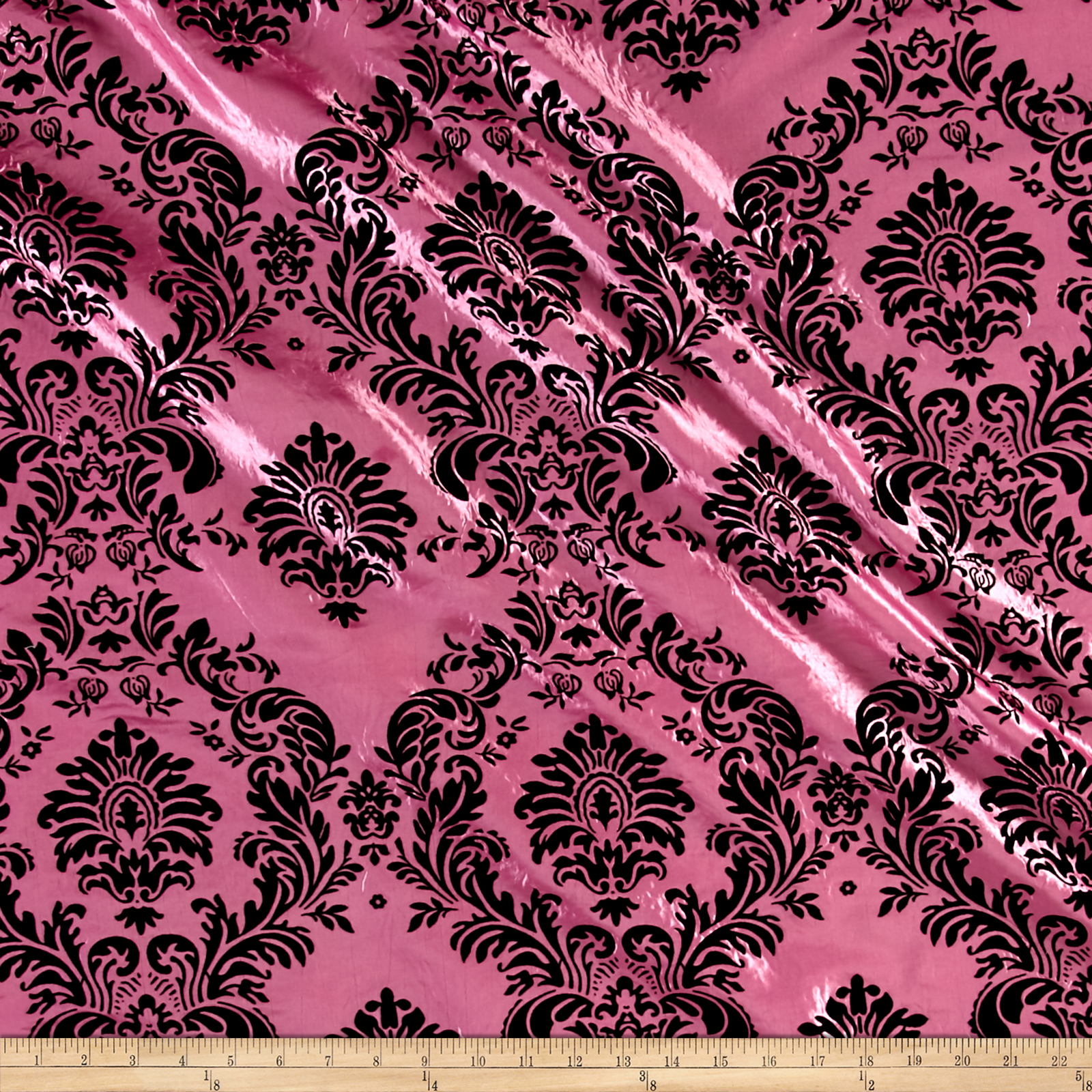 Flocked Damask Taffetta Candy Pink/Black Fabric by Ben in USA