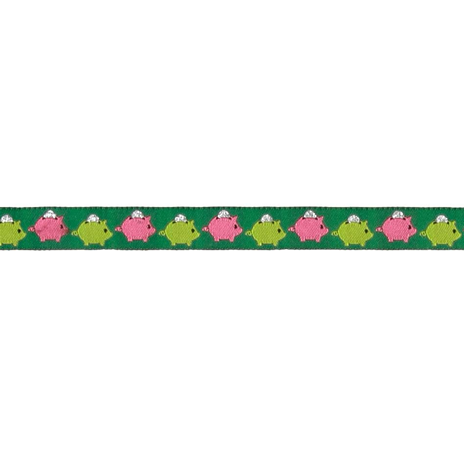 "5/8"" Piggy Bank Ribbon Green"