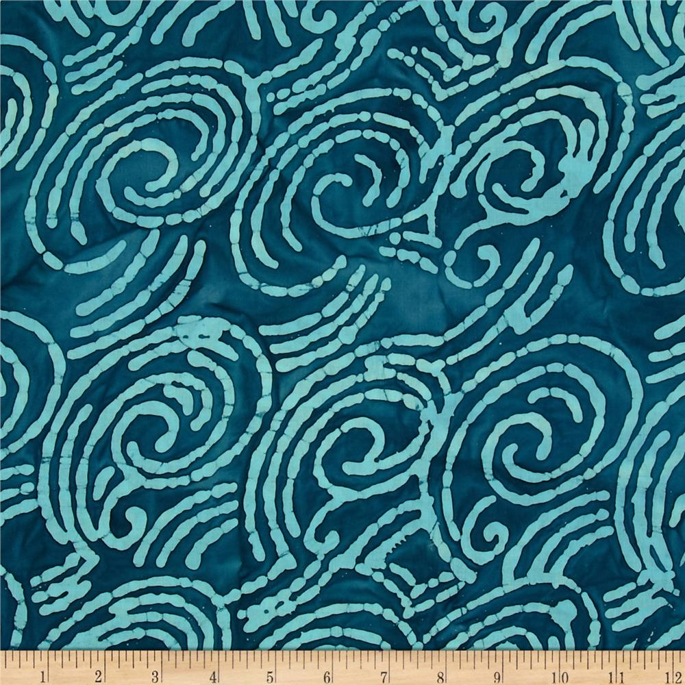 Indian Batik Scroll Blue/Turquoise