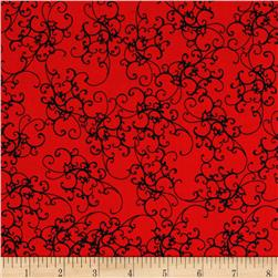 Loralie Designs Fairy Merry Christmas Elegant Scroll Red