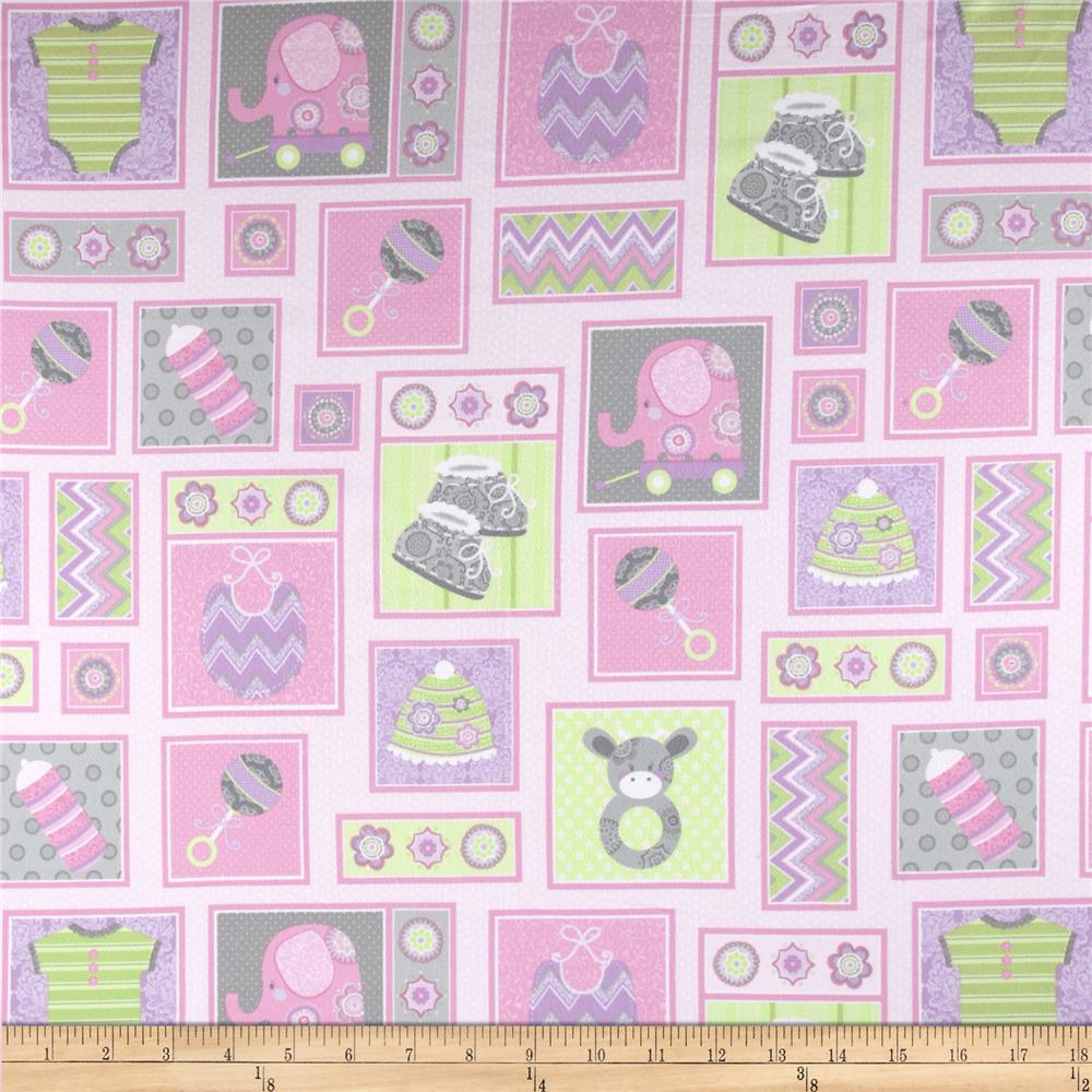 Precious Baby Flannel Patchwork Pink