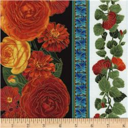 Timeless Treasures Arcadia Metallic Bold Floral Border Stripe