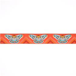 1-1/2'' Anna Maria Horner Moths Ribbon Orange/Aqua