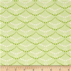 Hot House Flowers Pearl Strands Green Fabric