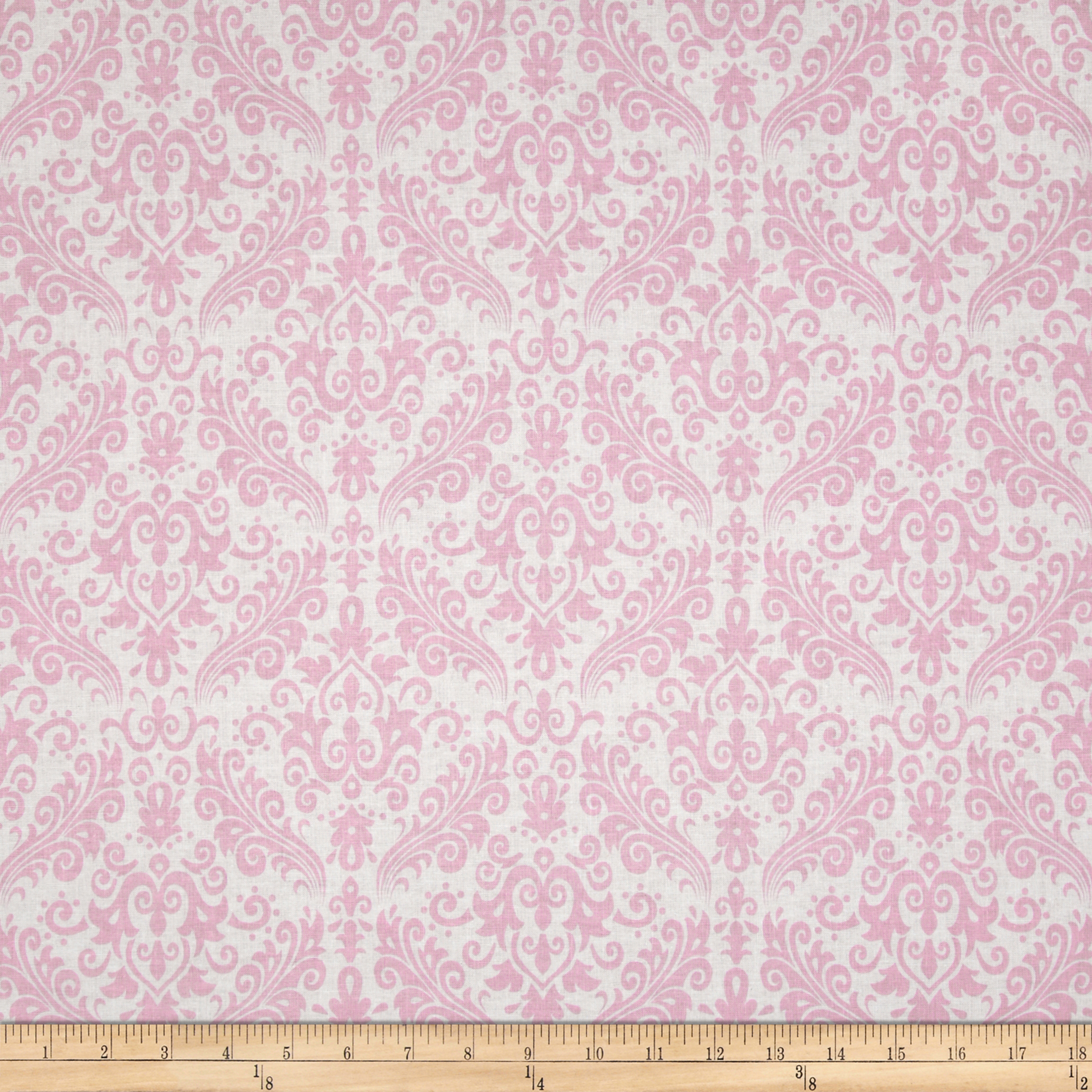 Riley Blake Medium Damask White/Baby Pink Fabric