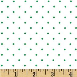 Stretch Poplin Dots White/Green