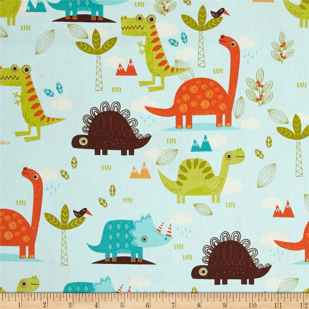 Riley blake home decor dinosaur blue discount designer for Cheap childrens curtain fabric