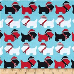 Robert Kaufman Jingle Scottie Dogs Aqua