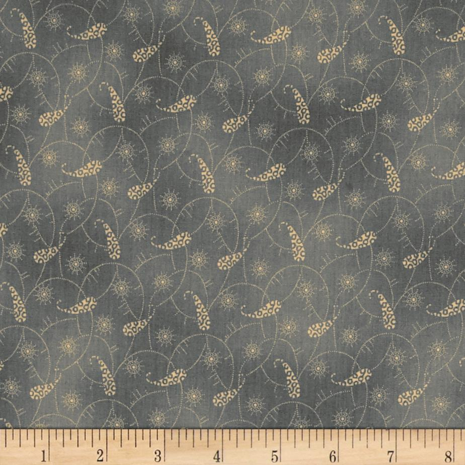 Windham Settlement Paisley Scroll  Grey