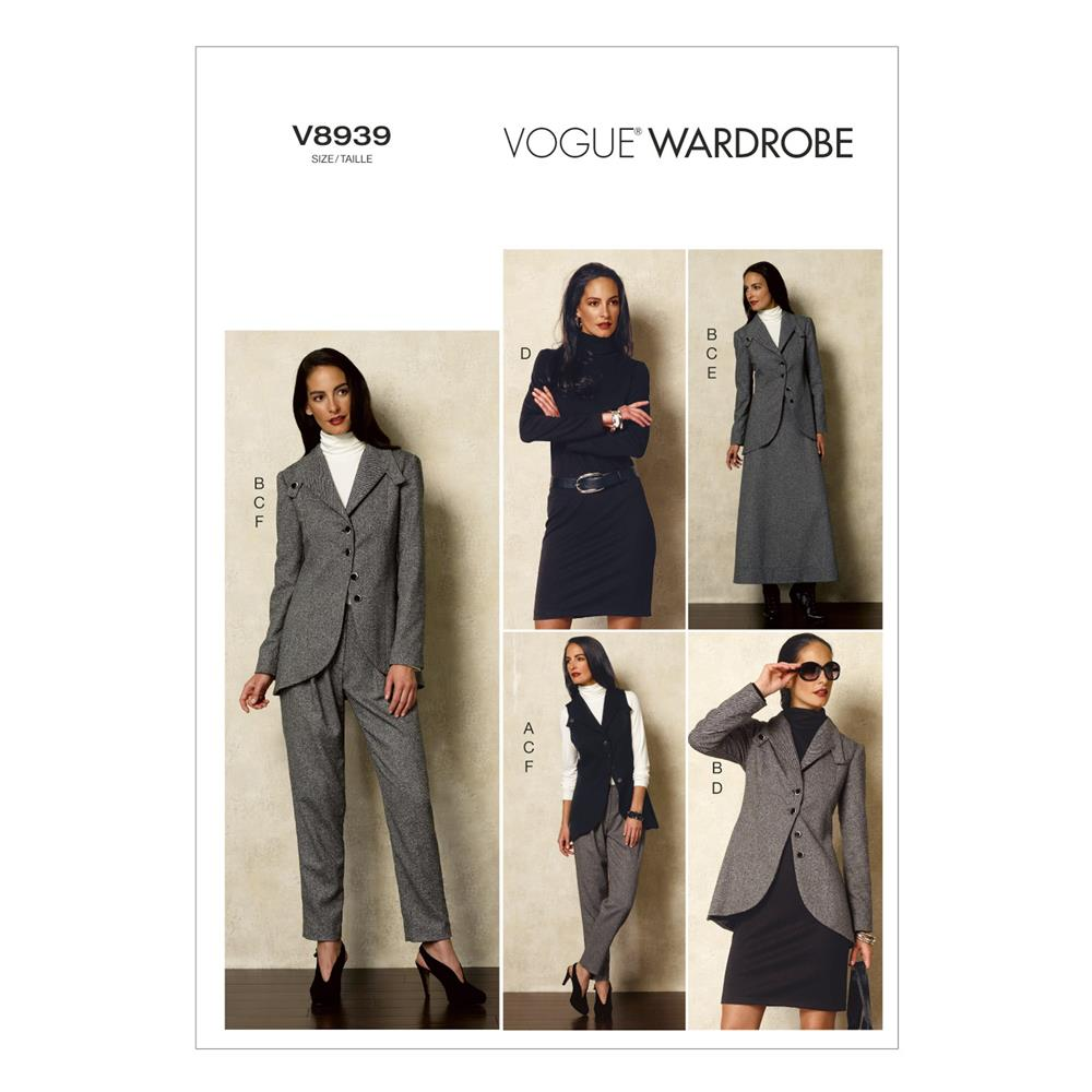 Vogue Misses' Vest, Jacket, Top, Dress, Skirt and