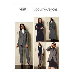 Vogue Misses' Vest, Jacket, Top, Dress, Skirt and Pants Pattern V8939 Size AX5