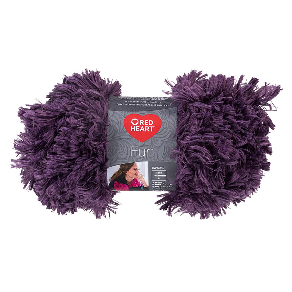 Red Heart Fur Yarn, Eggplant