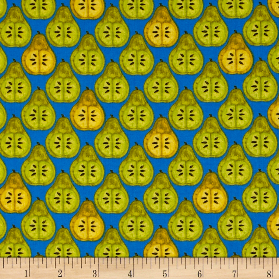 Image of Michael Miller Valencia Pear Slice Blue Fabric