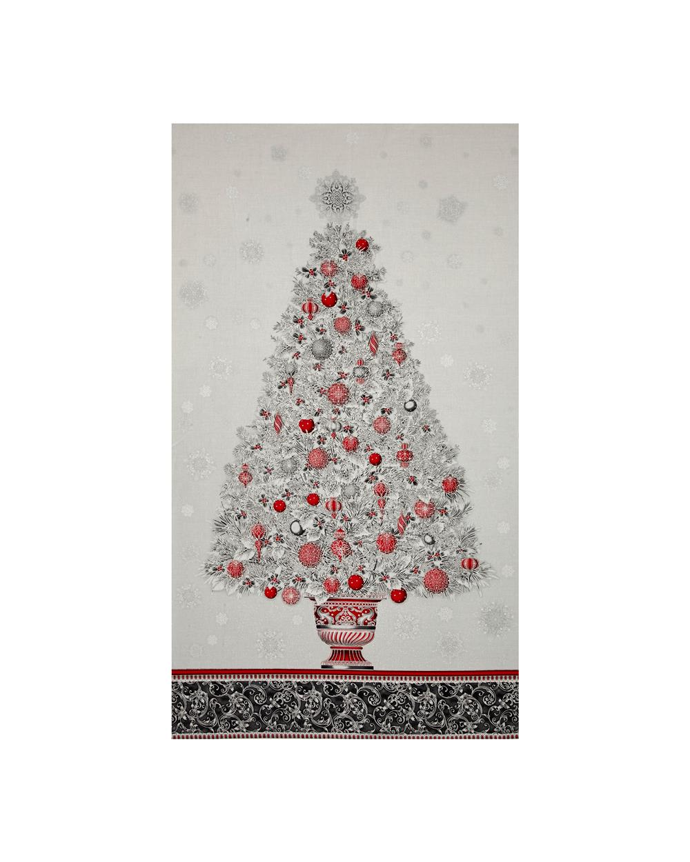 "Kaufman Winter's Grandeur 4 Metallics Tree 24"" Panel  Winter"