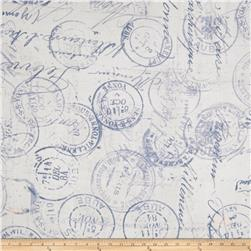 "Tim Holtz Eclectic Elements 108"" Quilt Backing Correspondence Blue"