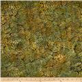 Batavian Batiks Fancy Leaflets Brown Green