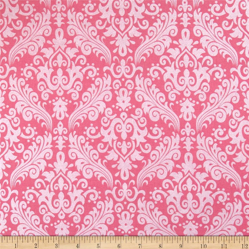 Riley Blake Hollywood Sparkle Medium Damask Hot Pink