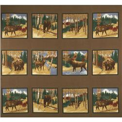 Moda Timber Trail Flannel Panel Timber Brown