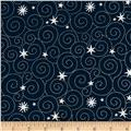Island Batik Tinsel Metallic Star Swirl Navy