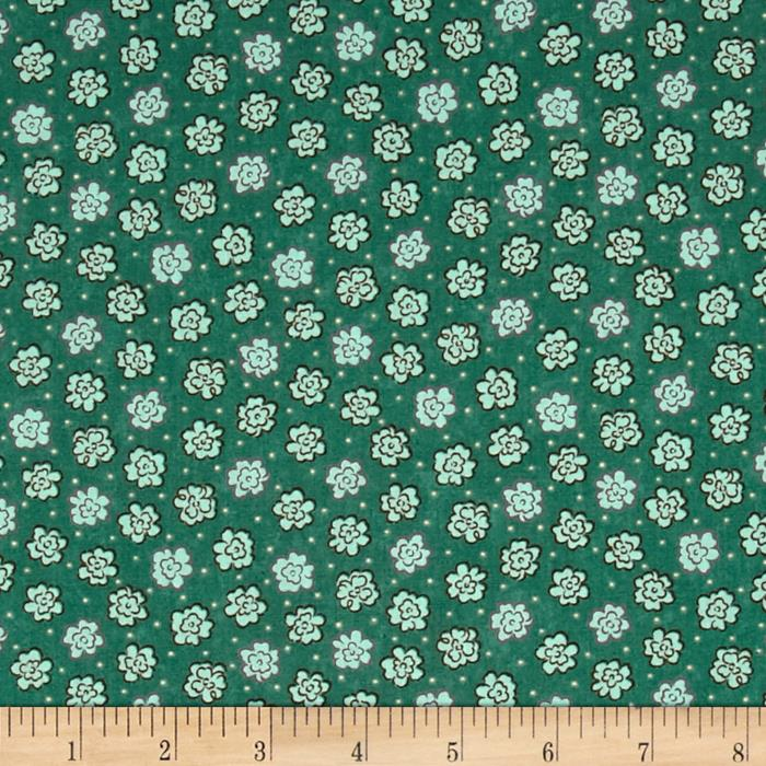 Moda Print Charming Etched Flowers Dark Teal