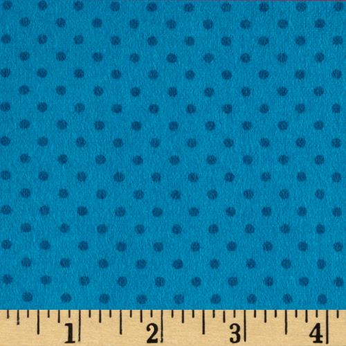 Flannel Small Dot on Tonal Turq