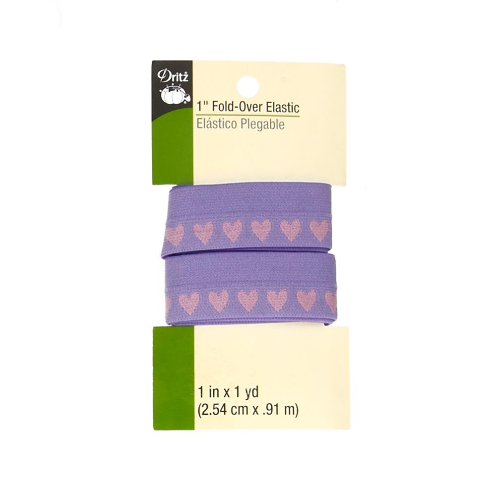 "Fold-Over Elastic 1""X1yd-Purple Hearts"