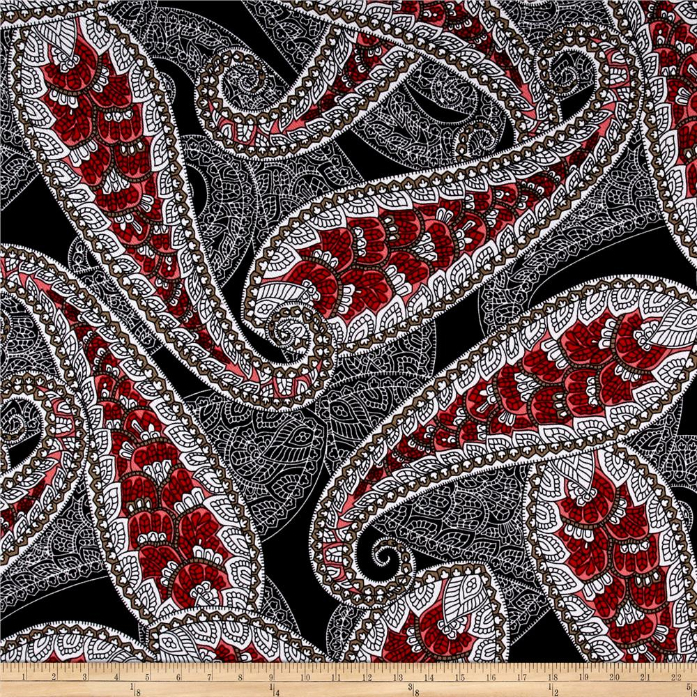 Liverpool Double Knit Paisley Black/Red/Coral/White/Green
